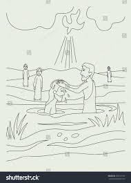 john baptized jesus art vector sketch stock vector 303761192