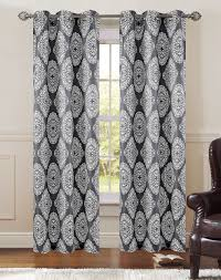 pair of atlantis charcoal ivory window curtain panels w grommets