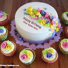 write name on beautiful birthday cake writing with name