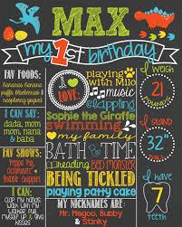 dinosaur first birthday chalkboard poster 1st birthday