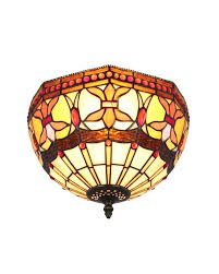 Flush Mount Ceiling Light Stained Glass Vintage Tiffany Indoor Flush Mount Parrotuncle