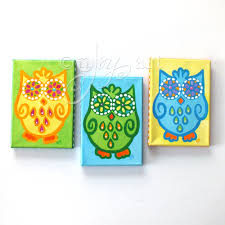 owl paintings 3 funky owls no 2 set 3 5x7 canvas paintings