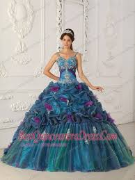 best quinceanera dresses in stock teal straps chapel quinceanera dress muti colored