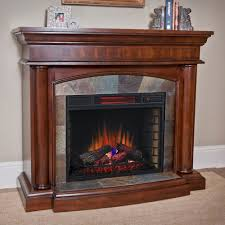 transitional style living room with classic flame large electric