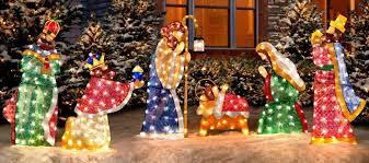 lighted outdoor nativity nativity christmas decorations