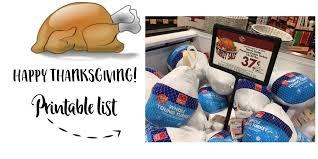 happy thanksgiving printable list of thanksgiving items the