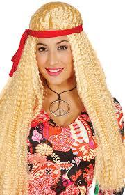 ladies long blonde hippy fancy dress wig fancy me limited