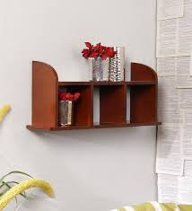 wall shelves pepperfry buy isabella contemporary wall shelf in moldau akazia by casacraft