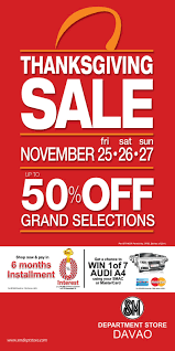 sm department store thanksgiving sale november 25 27 davaobase