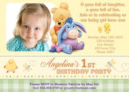 1st year baby birthday invitation cards winnie the pooh birthday party invitations