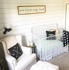 shiplap in the nursery for a farmhouse style baby boy room baby