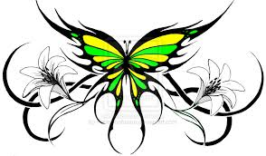 green yellow butterfly design tattooshunt com
