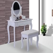 costway white vanity table jewelry makeup desk bench dresser w