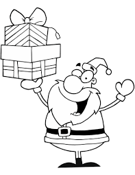 santa claus holding presents coloring free printable