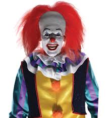 Mens Clown Halloween Costumes Pennywise Tim Curry Horror Clown Halloween Men Costume Bald Cap