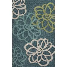 Jaipur Outdoor Rugs Rugada Jaipur Floral Pattern Polyester Blue Green