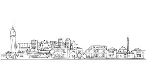 frankfurt city outline animation hand drawn sketch build up and