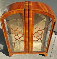 art deco curio cabinet curved glass hutch antique french vintage