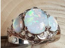 turquoise opal white fire opal 3 stone ring 8 opal color stone and fire opals