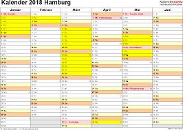 Kalender 2018 Hamburg Feiertage Kalender 2018 Hamburg Ferien Feiertage Excel Vorlagen
