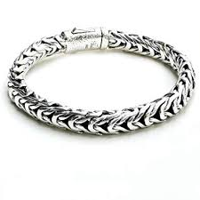 link men silver bracelet images Handwoven men 925 sterling silver thick link bali jpg