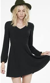 express dress express black v neck sleeve fit and flare dress where to