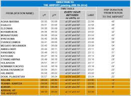 Metro Time Table Athensflat Gr Metro From To Airport Syntagma