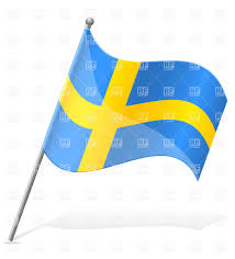 Flag Sweden Icon Of Wavy Flag Of Sweden On Flagstaff Royalty Free Vector Clip