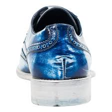 isaac blue spray paint effect nappa leather wingtip oxfords
