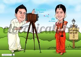 caricature wedding invites wedding story style