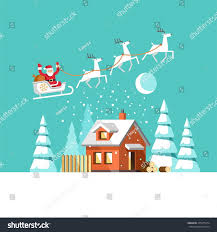 santa claus on sleigh his reindeers stock vector 475975174