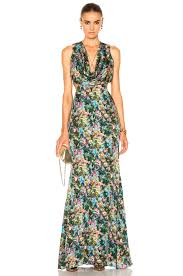 Draped Gown Cushnie Et Ochs Christina Cowl Draped Gown In Floral Print Fwrd