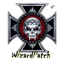evil skull iron cross 4 patch wizard patch
