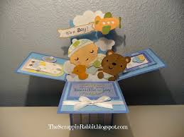 the scrappin rabbit baby boy shower card in a box