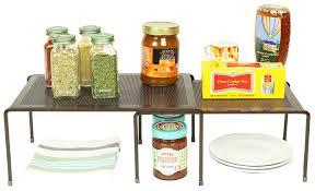 amazon com decobros expandable stackable kitchen cabinet and amazon com decobros expandable stackable kitchen cabinet and counter shelf organizer bronze