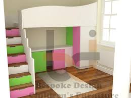 candy stripe high sleeper bed with storage stairs and under bed