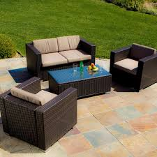Walmart Patio Conversation Sets Abbyson Brooke Outdoor Wicker 4 Piece Patio Conversation Set