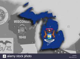 Michigans State Flag Illustration Of The State Of Michigan Silhouette Map And Flag Its