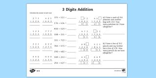 3 digit number addition worksheet addition worksheets ks2
