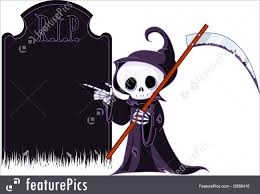 cute halloween cartoons halloween cartoon grim reaper pointing to tombstone stock