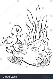 Coloring Pages Little Cute Duckling Tries Stock Illustration Coloring Scares