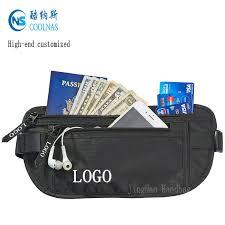 Mens rfid hidden ripstop nylon money belt travel black color