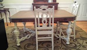 dining table makeover with java gel stain and antique white at