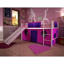 turquoise white wooden loft bed with slide under toy story