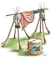Civil War Union Flags Civil War Union Flag Stacked Muskets And Drum Civil War