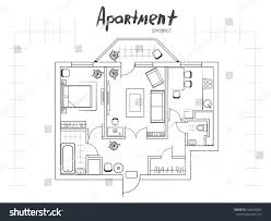 Living Room Architecture Drawing Apartment Project Floor Plan Furniture Kitchen Stock Illustration