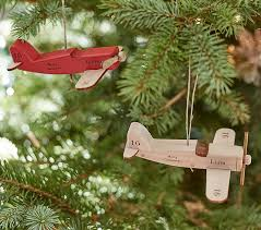 personalized wooden airplane ornaments pottery barn