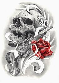 roses and skulls designs cool pirate skull with gun and