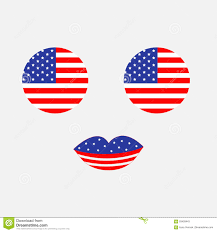 Th Flag Round Circle Shape American Flag Icon Set Face With Eyes And Lips