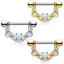 nipple rings pictures images Pair lacey opal filigree shield nipple ring barbells beauty mark jpg